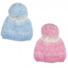 6009: Baby Fair Isle Pattern Knit Hat (6-18 Months)