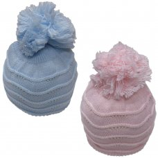 HAT1106-1: Baby Wavy Knit Pom Hat with Fur Lining (0-6 Months)