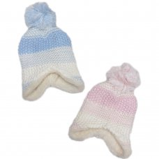 HAT5106-1: Baby Chain Link Knit Fur Lined Pom Hat (0-6 Months)