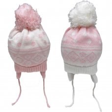 HAT2206: Baby Girls Nepalese Cotton Lined Pom Hat (3-12 Months)