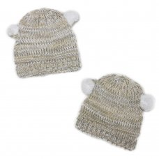 HAT6406: Baby Fur Ear, Cotton Lined Knit Hat (6-18 Months)
