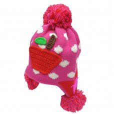 HAT1506: Girls Apple & Polka Dot Pom Pom Hat (1-4 Years)