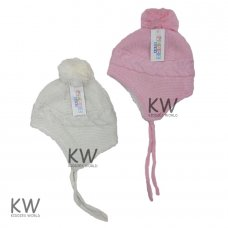 6066: Baby Girls Lurex, Cable Knit Fur Lined Hat (6-18 Months)