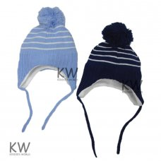 6072: Baby Boys Stripe Nepalese Fleece Lined Hat (6-18 Months)