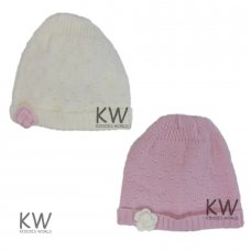 6090: Baby Girls Flower Cotton Lined Hat (0-6 Months)