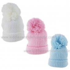 KIDS6125-2: Baby Rib Knit Pom Hat (3-12 Months)