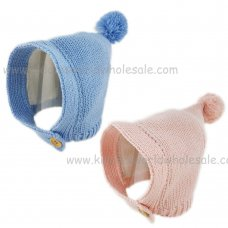 KIDS6128-2: Baby Knitted Pom Hat With Button Fastening (6-18 Months)