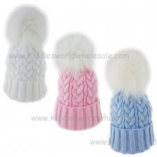 KIDS6131-1: Baby Fur Pom Pom Knitted Hat (0-6 Months)