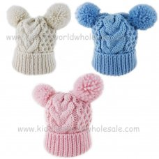 KIDS6133-1: Baby Knitted Double Pom Pom Hat (0-6 Months)