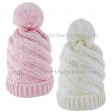 KIDS6137: Baby Girls Twirl Knit Pom Hat (6-18 Months)