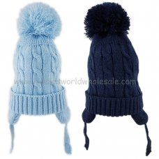 KIDS6138B: Baby Boys Cable Knit Fleece Lined Pom Hat (6-18 Months)