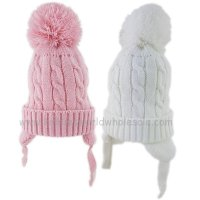 KIDS6138G: Baby Girls Cable Knit Fleece Lined Pom Hat (6-18 Months)