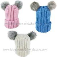 KIDS6140: Infants Double Pom Pom Hat (1-4 Years)
