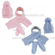 KIDS6172: Infants Knitted Hat, Scarf & Mittens Set (1-4 Years)