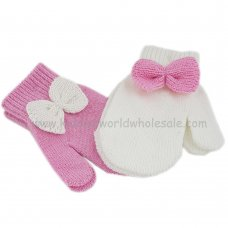 KIDS6174-9: Baby Mittens With Bow (9 cm)