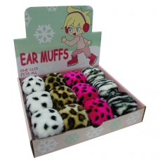 88B001: Girls Animal Print Ear Muffs