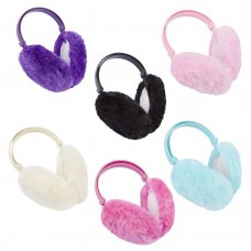 88B005: Girls Plain Prints Ear Muffs