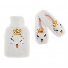 98A054: Older Girls Novelty Swan Hot Water Bottle & Slippers Set