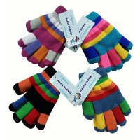 AT105: Childrens Magic Multi Coloured Gloves With Lining