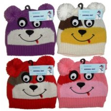 AT374: Childrens Animal Hat with Poms (One Size)