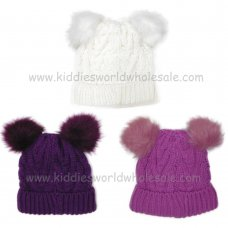 AT512: Girls Cable Knit Double Fur Pom Pom Hat With Lining