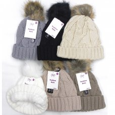 AT516: Girls Fur Pom Pom Chunky Knit Hat With Plush Fleece Lining