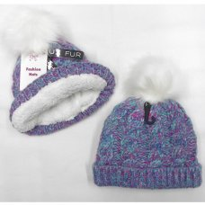 AT521: Girls Fur Pom Pom Chunky Knit Hat With Plush Fleece Lining