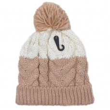 AT522: Girls Chunky Knit Hat With Plush Fleece Lining