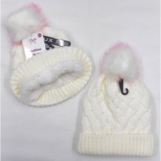 AT523: Girls Fur Pom Pom Chunky Knit Hat With Plush Fleece Lining