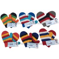 AT66: Infants Multi Colour Stripe Mittens With Lining