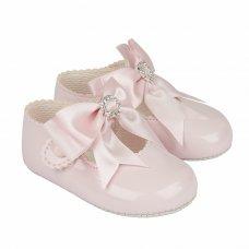 B060: Baby Girls Bow & Diamante Soft Soled Shoe- Pink (Shoe Sizes: 0-3)