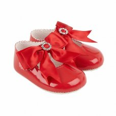 B060: Baby Girls Bow & Diamante Soft Soled Shoe- Red (Shoe Sizes: 0-3)