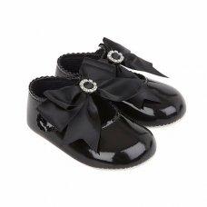 B060: Baby Girls Bow & Diamante Soft Soled Shoe- Black (Shoe Sizes: 0-3)