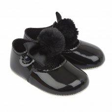 B066: Baby Girls Soft Soled Shoe With Pom Pom Bow- Black  (Shoe Sizes: 0-3)
