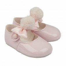 B066: Baby Girls Soft Soled Shoe With Pom Pom Bow- Pink  (Shoe Sizes: 0-3)