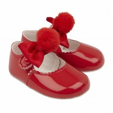 B066: Baby Girls Soft Soled Shoe With Pom Pom Bow- Red  (Shoe Sizes: 0-3)