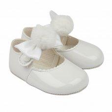 B066: Baby Girls Soft Soled Shoe With Pom Pom Bow- White (Shoe Sizes: 0-3)