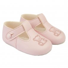 B117: Baby Girls Soft Soled Shoe- Pink (Shoe Sizes: 2)