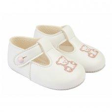 B117: Baby Girls Soft Soled Shoe- White (Shoe Sizes: 0-4)