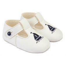 B119: Baby Boys Soft Soled Shoe- White/Navy (Shoe Sizes: 0-4)