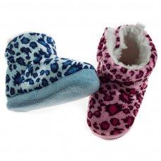 B1258: Leopard Print Velour Boots (0-12 Months)