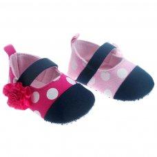 B2030-G: Cotton Polka Dot Shoes (6-15 Months)