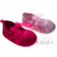 B2076: Girls Embroidered Satin Shoes (0-12 Months)