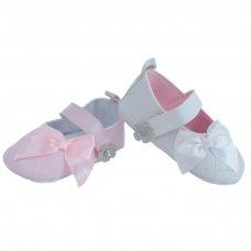 B2148: PU Kriss Kross Stitch Shoes w/Satin Bow (NB-12 Months)
