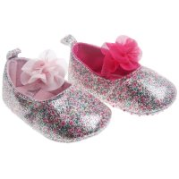 B2154: Pink PU Floral Shoes (6-15 Months)