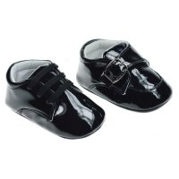 B2176: Black PU Shoes (6-15 Months)
