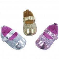 B2184: Glitter PU Shoes w/Velcro Strap (6-15 Months)
