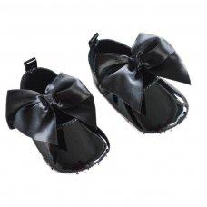 B2228-BLK: Shiny PU Shoes (0-12 Months)