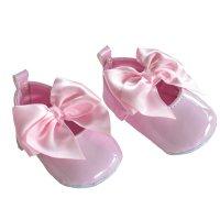 B2228-P: Pink Shiny PU Shoes (0-12 Months)