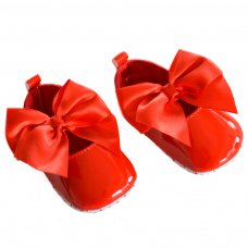 B2228-R: Shiny PU Shoes (0-12 Months)